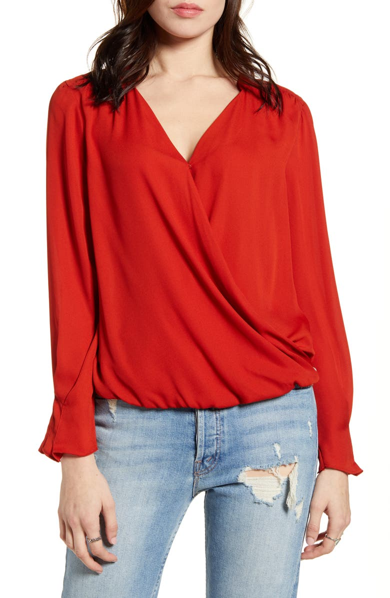 SCOTCH & SODA Wrap Look Blouse, Main, color, BRICK