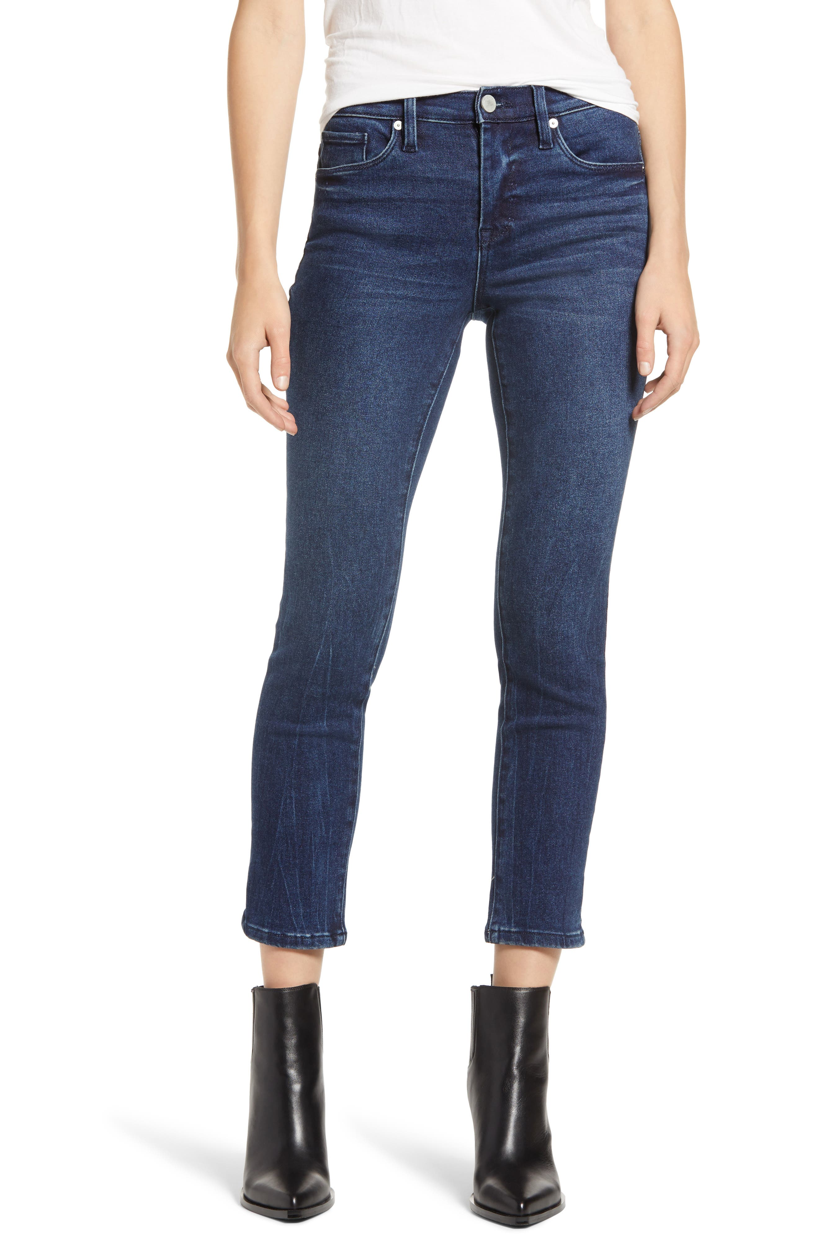 BLANKNYC Madison High Waist Crop Straight Leg Jeans (Into the Blue)   Nordstrom
