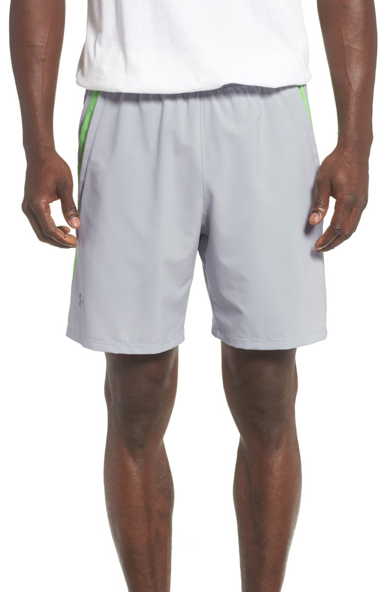 UNDER ARMOUR Mesh Panel Performance Athletic Shorts, Main, color, 020