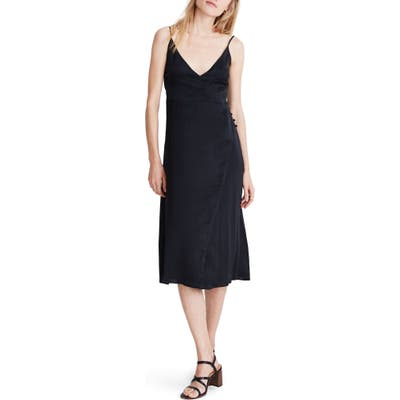 Madewell Satin Side-Button Wrap Cami Dress, Black