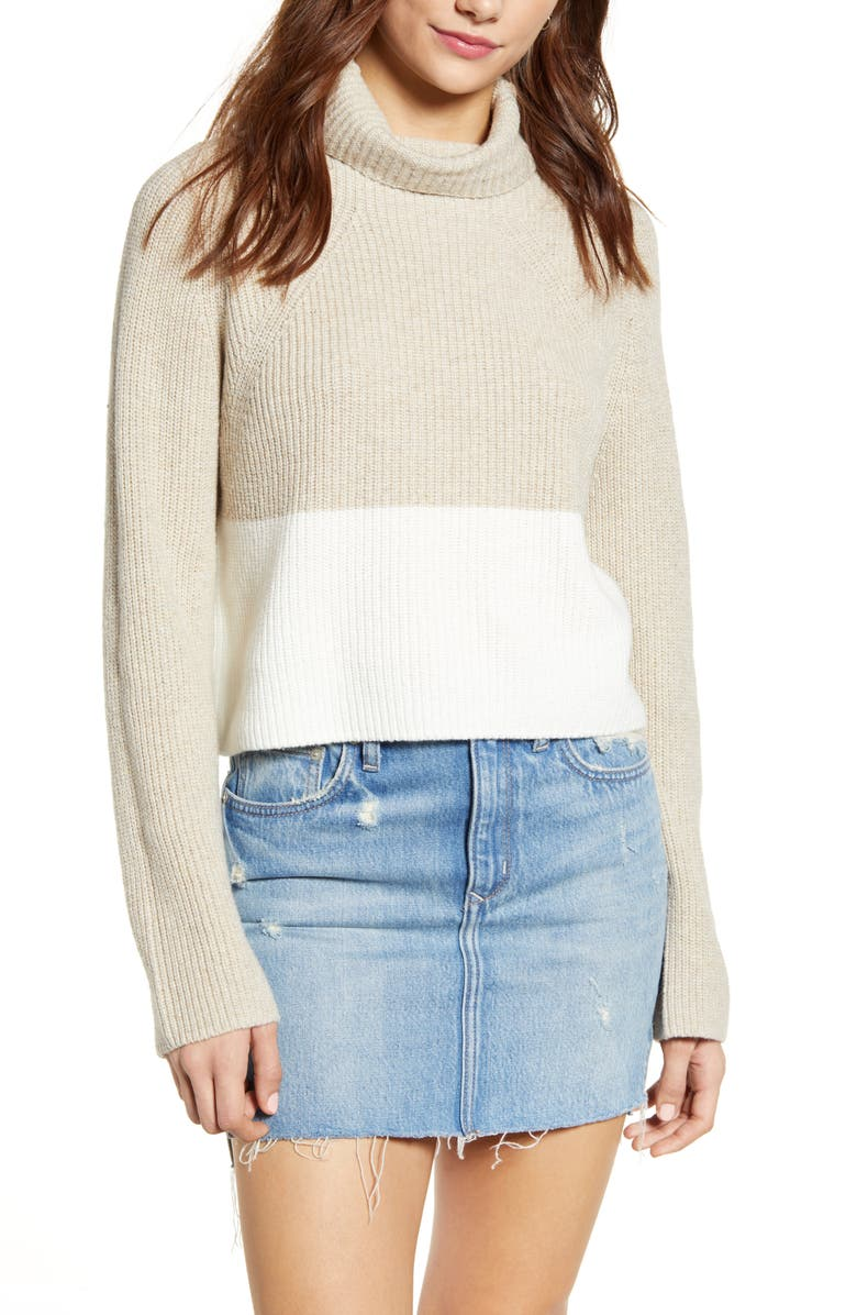 LEITH Transfer Stitch Turtleneck Sweater, Main, color, BEIGE OATMEAL MEDIUM HEATHER