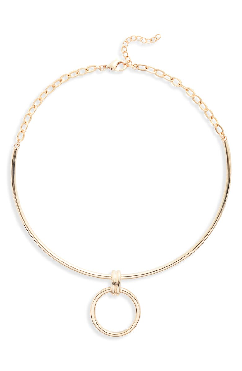 HALOGEN<SUP>®</SUP> Drop Ring Collar Necklace, Main, color, GOLD