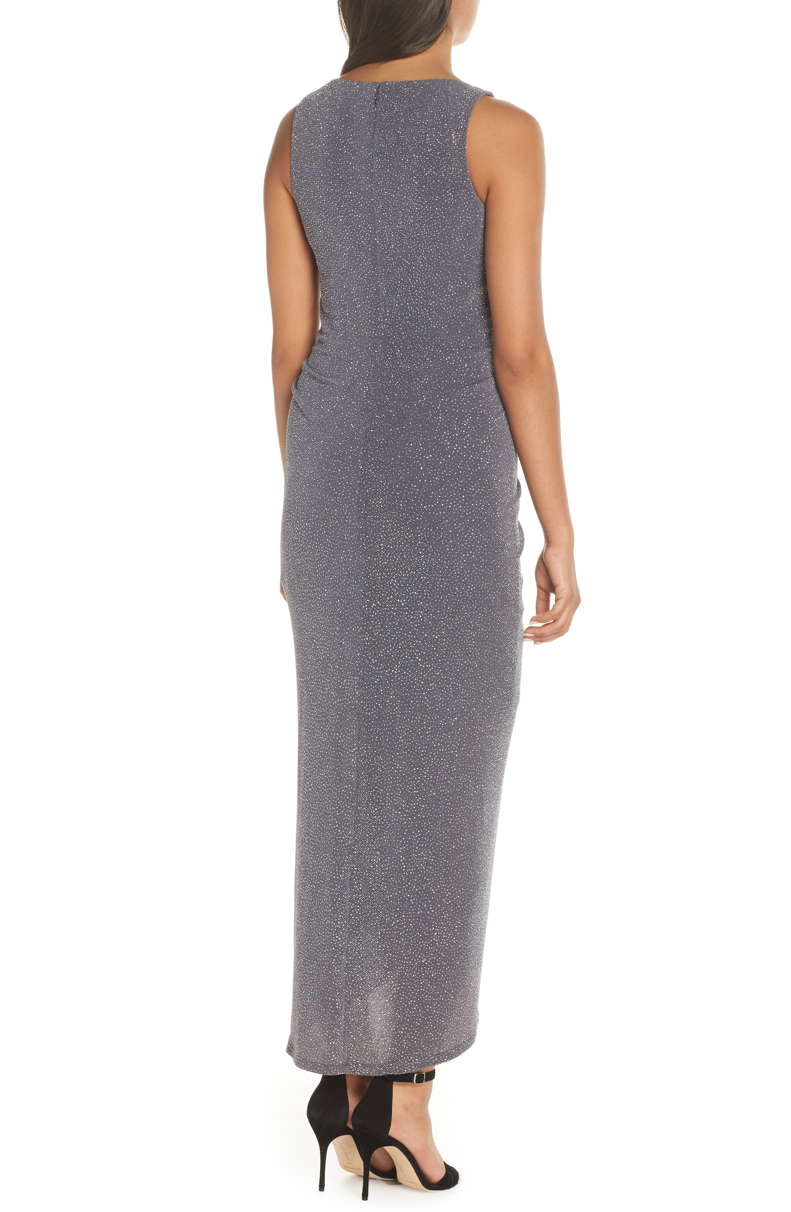 ,                             Ruched Glitter Knit Gown,                             Alternate thumbnail 2, color,                             STEEL