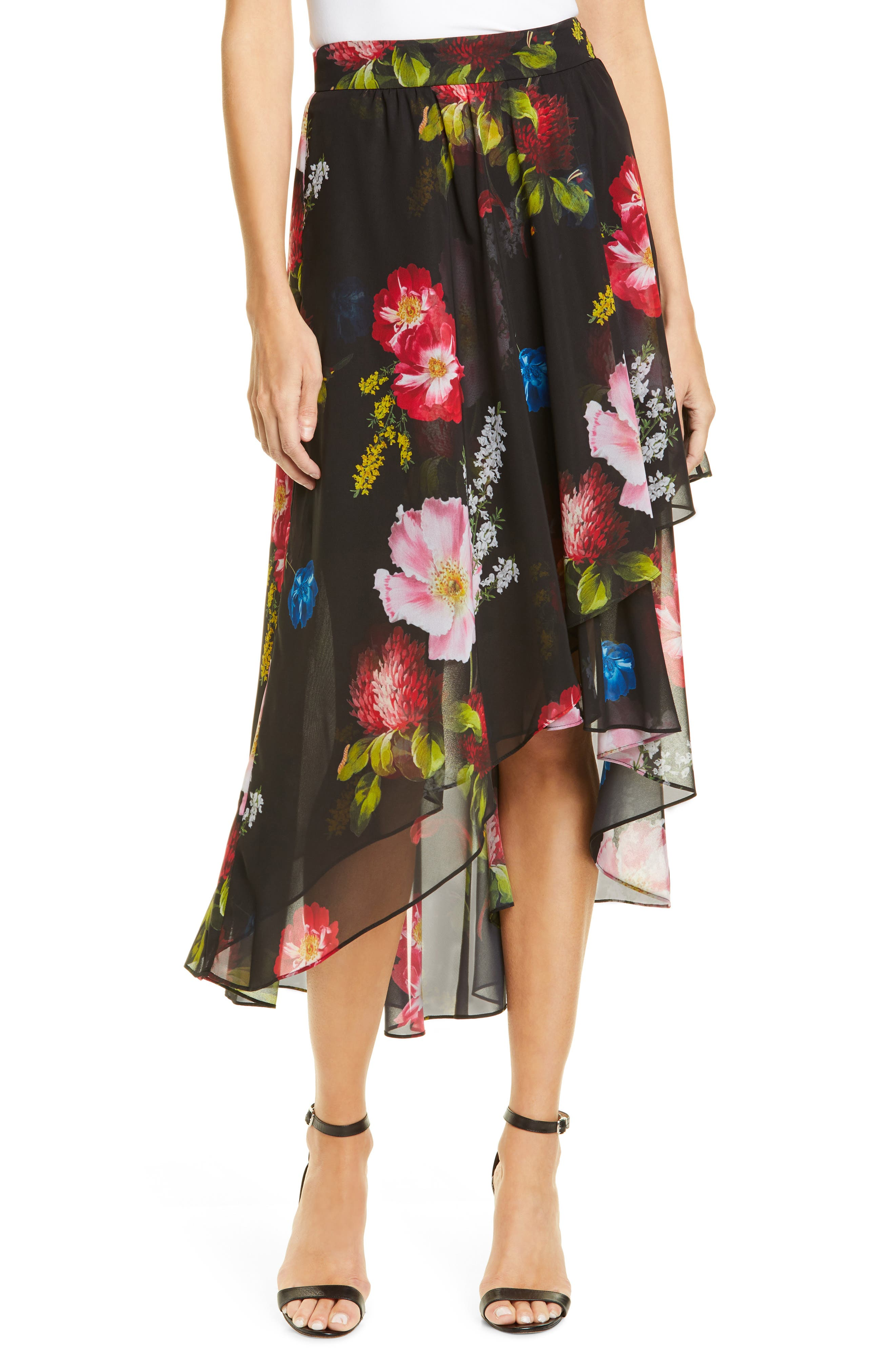 ,                             Ritta Floral Ruffle Midi Skirt,                             Main thumbnail 1, color,                             BLACK