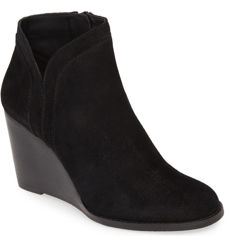 LUCKY BRAND Yimina Wedge Bootie, Main, color, BLACK SUEDE