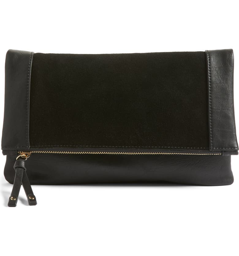SOLE SOCIETY Jemma Suede Clutch, Main, color, 001