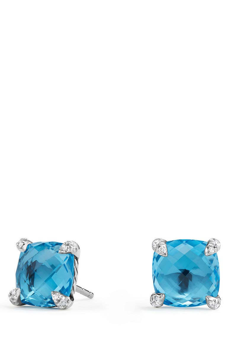 DAVID YURMAN Châtelaine Earrings with Diamonds, Main, color, BLUE TOPAZ?