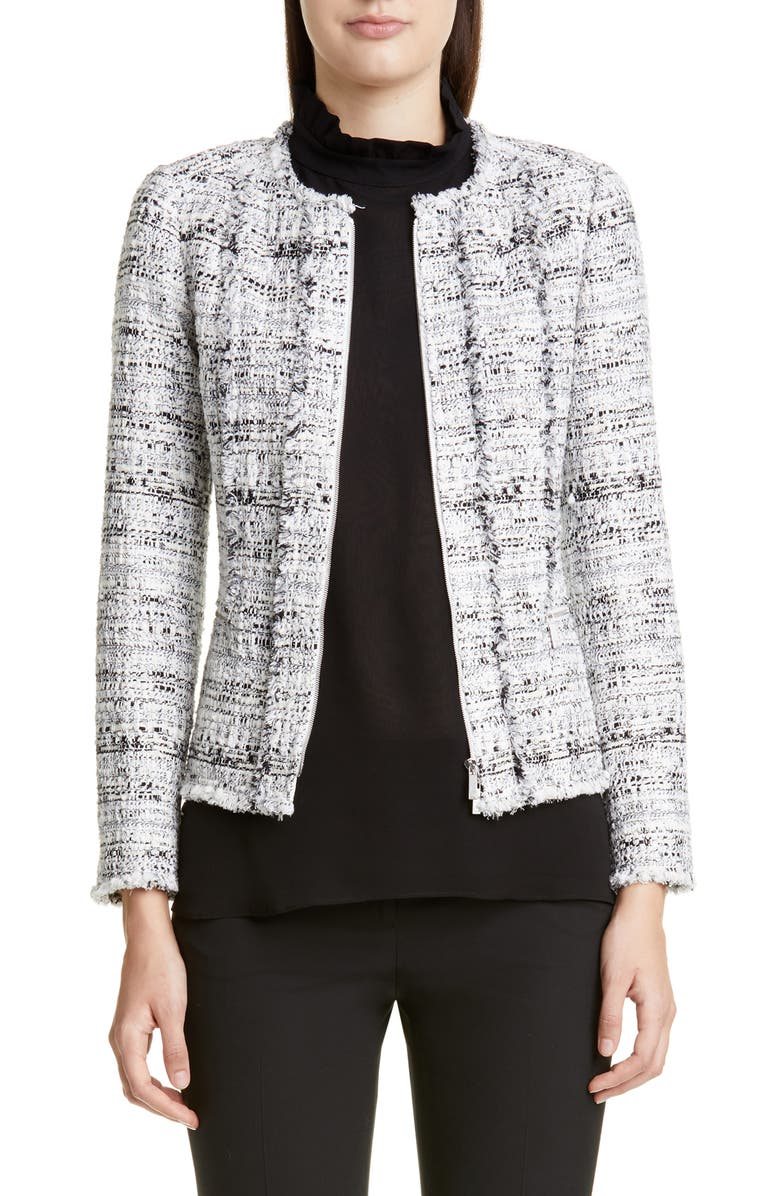LAFAYETTE 148 NEW YORK Noelle Tweed Jacket, Main, color, BLACK MULTI