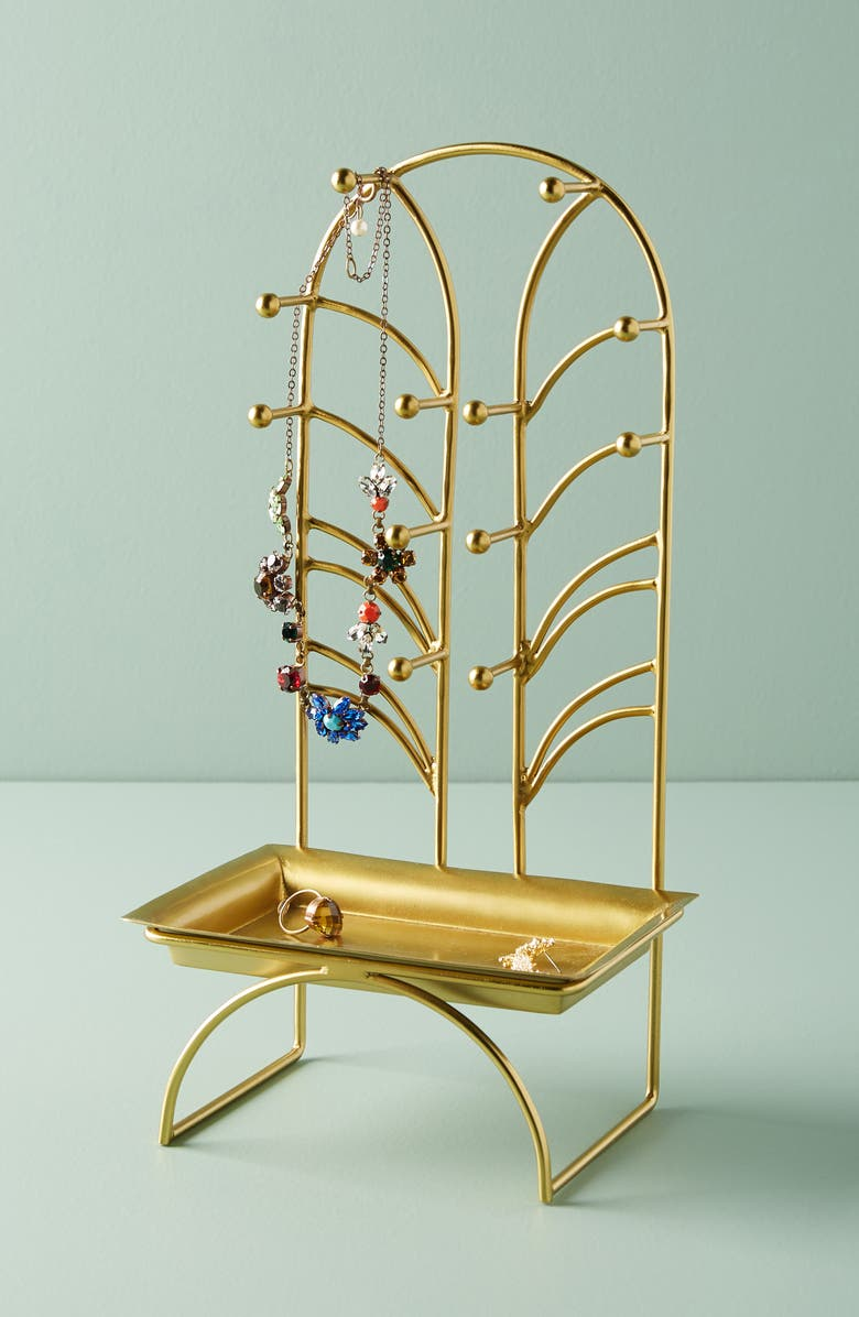 ANTHROPOLOGIE Art Nouveau Jewelry Stand, Main, color, GOLD