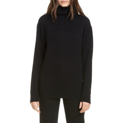 Ambush Logo Embossed Wool Blend Turtleneck Sweater, (fits like 6 US) - Black