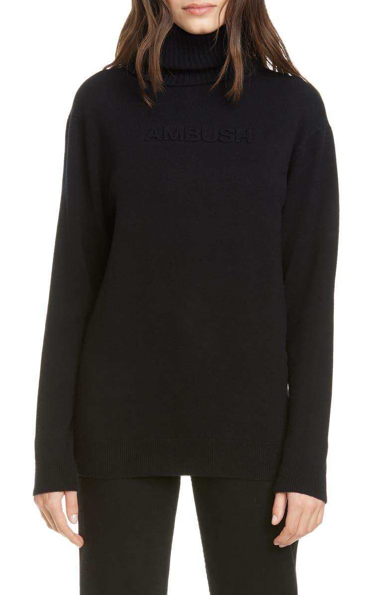 AMBUSH Logo Embossed Wool Blend Turtleneck Sweater, Main, color, BLACK
