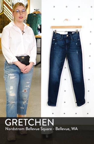 Le High Slit Curve Hem Skinny Jeans, sales video thumbnail