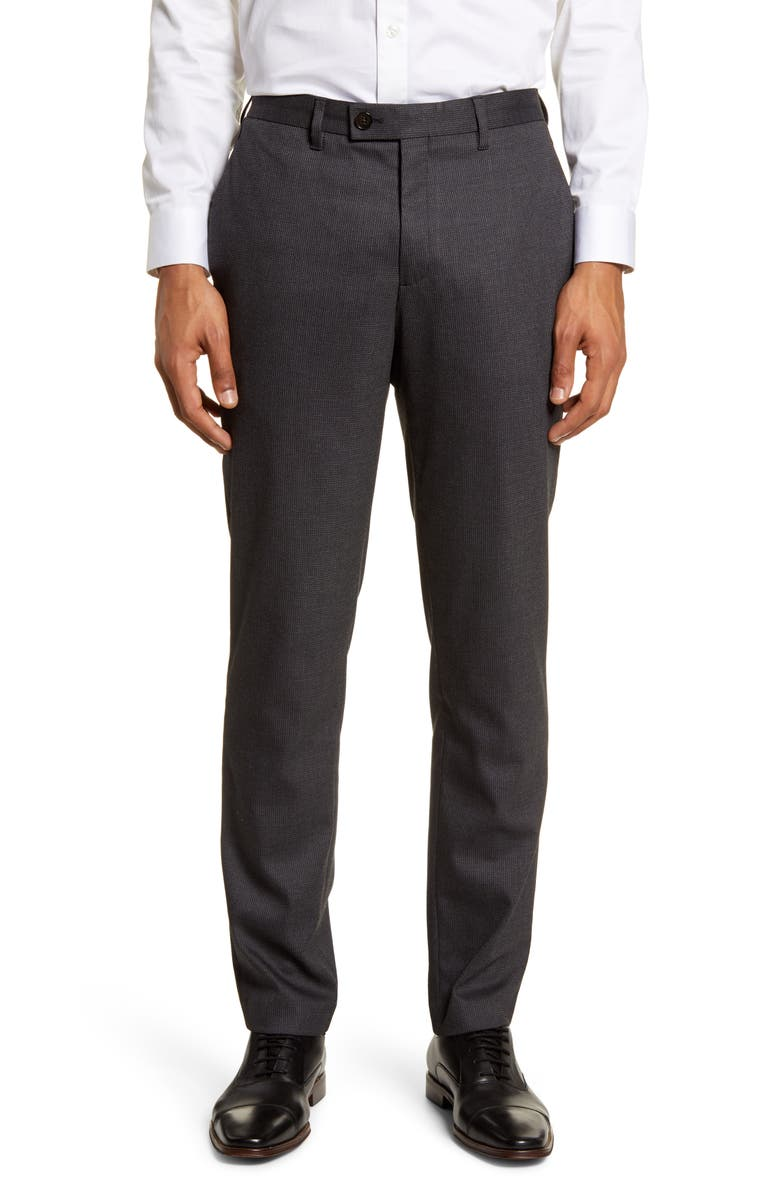 TED BAKER LONDON Beeztro Flat Front Pants, Main, color, CHARCOAL