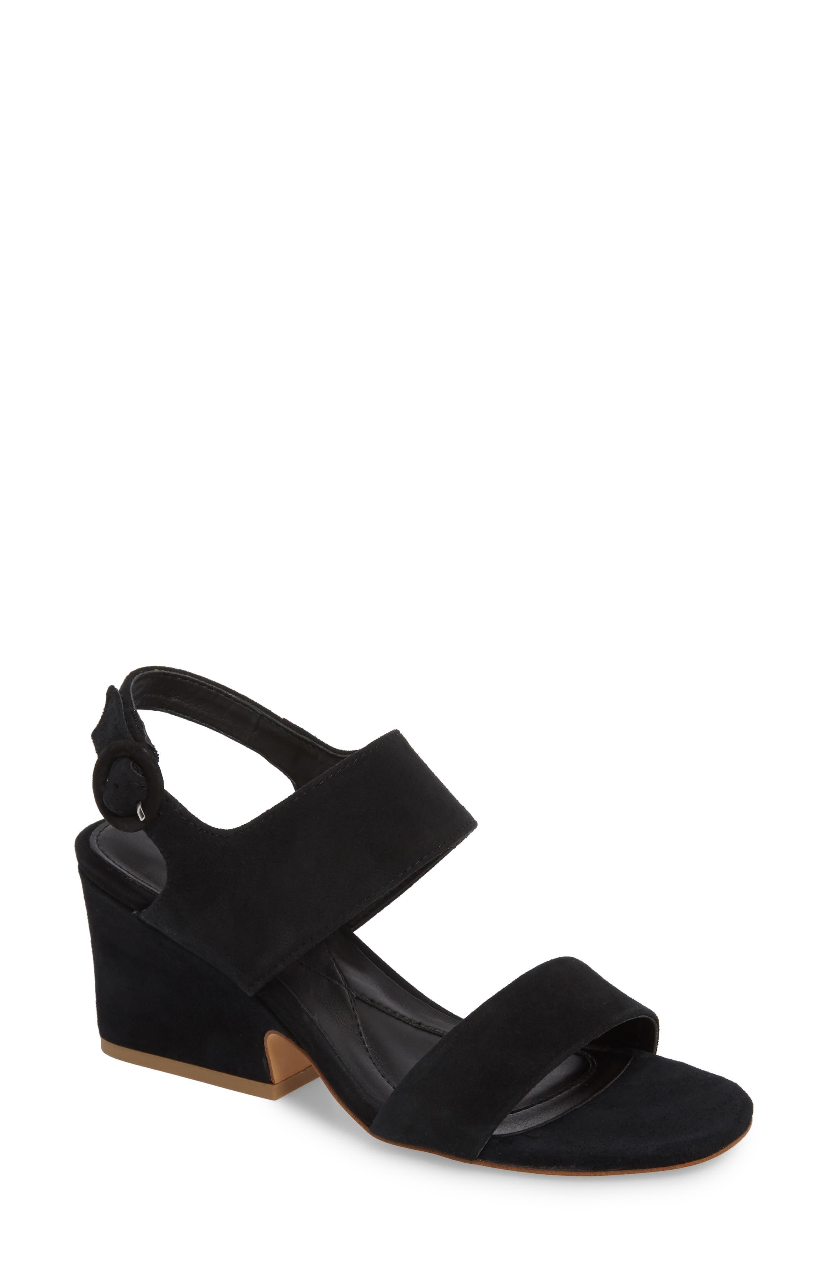 ,                             Isola Landra Block Heel Sandal,                             Main thumbnail 1, color,                             BLACK SUEDE
