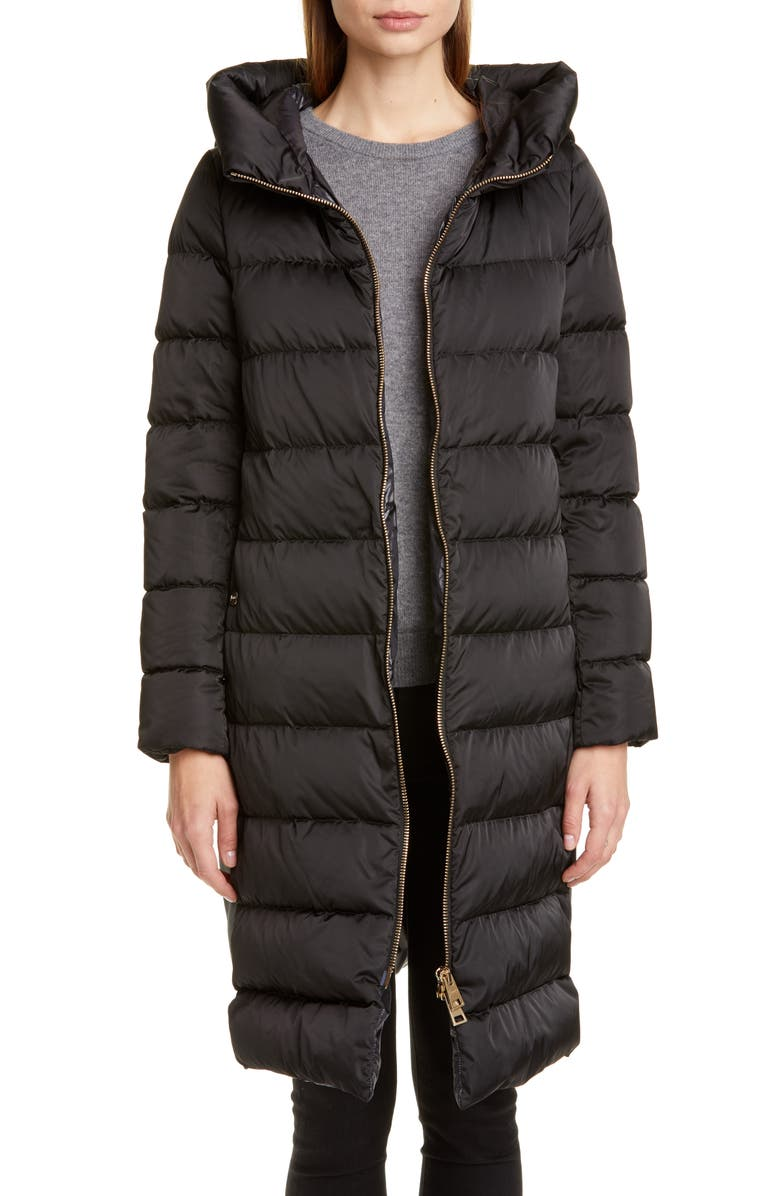 HERNO Long A-Line Down Sateen Puffer Coat, Main, color, BLACK