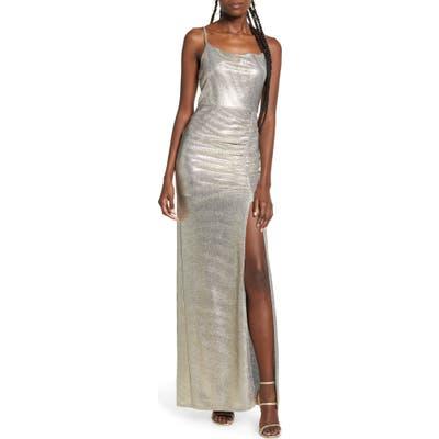 Speechless Metallic Sleeveless Maxi Dress, Metallic