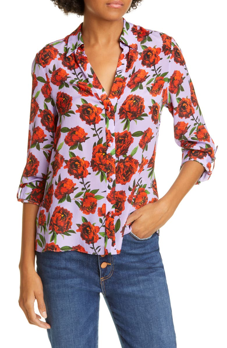 ALICE + OLIVIA Eloise Roll Sleeve Floral Print Silk Blouse, Main, color, LILAS ROSE SCARLET