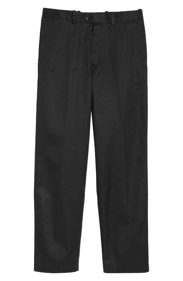 NORDSTROM MEN'S SHOP Smartcare<sup>™</sup> Classic Supima<sup>®</sup> Cotton Flat Front Straight Leg Dress Pants, Main, color, BLACK CAVIAR