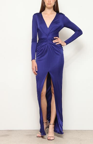 Gathered Slit Front Long Sleeve Gown, video thumbnail