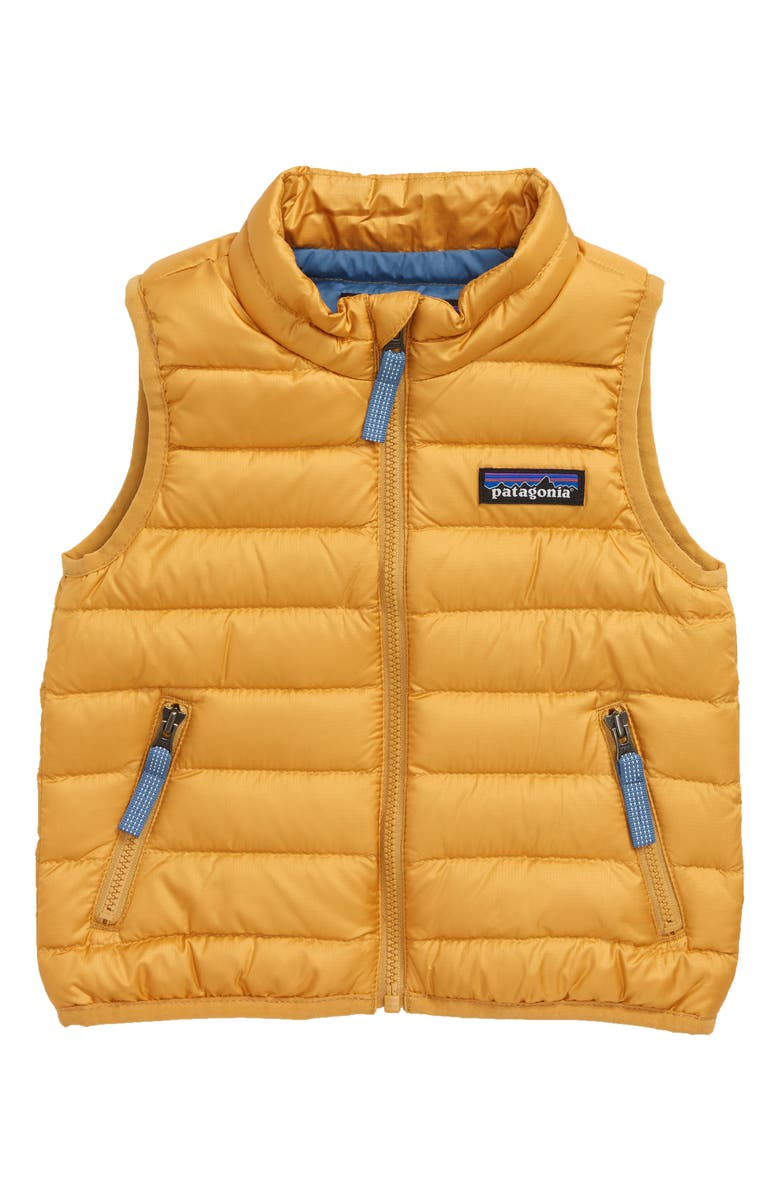 PATAGONIA Windproof & Water Resistant Down Sweater Vest, Main, color, GPGO GLYPH GOLD
