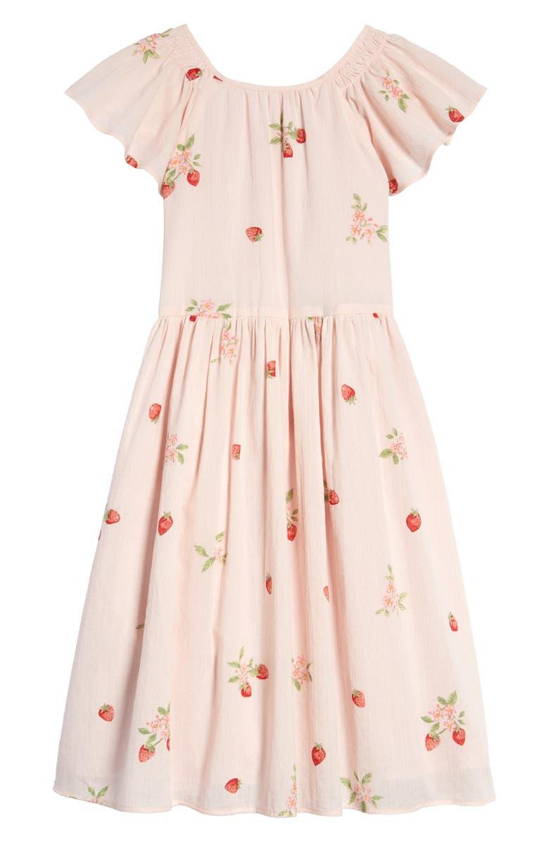 RACHEL PARCELL Print Flutter Sleeve Dress, Main, color, PINK ROSEWATER STRAWBERRY