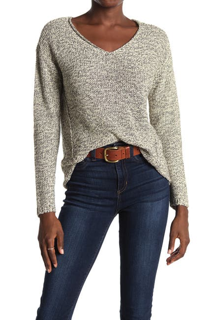 Image of Modern Designer V-Neck Faux Suede Elbow Patch Tunic Sweater