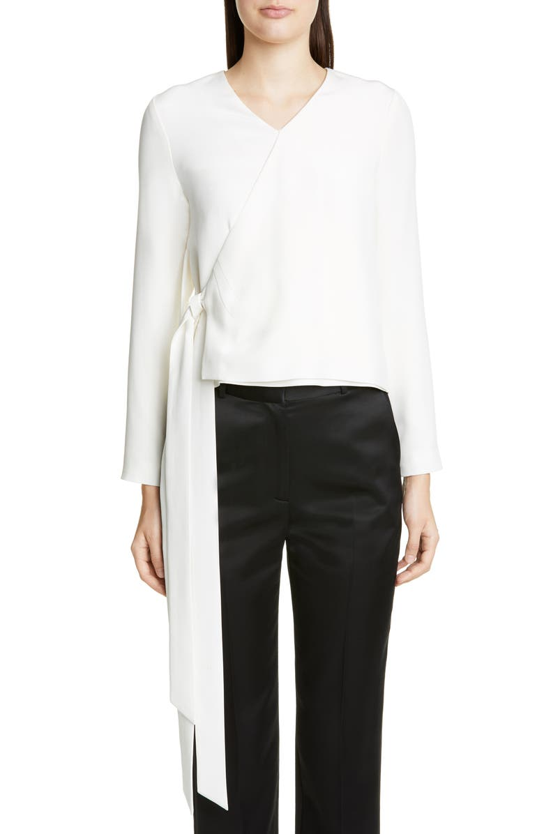 PARTOW Marquis Silk Faux Wrap Top, Main, color, IVORY