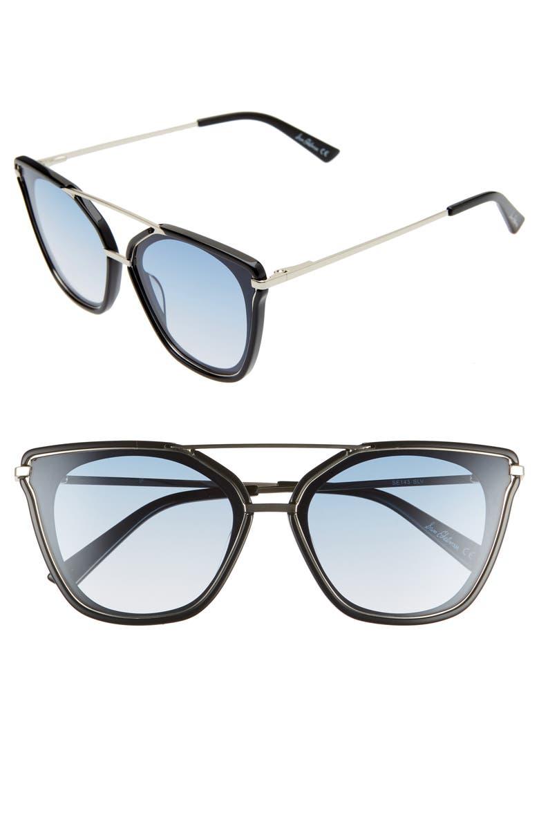 SAM EDELMAN 62mm Oversize Gradient Cat Eye Sunglasses, Main, color, SILVER