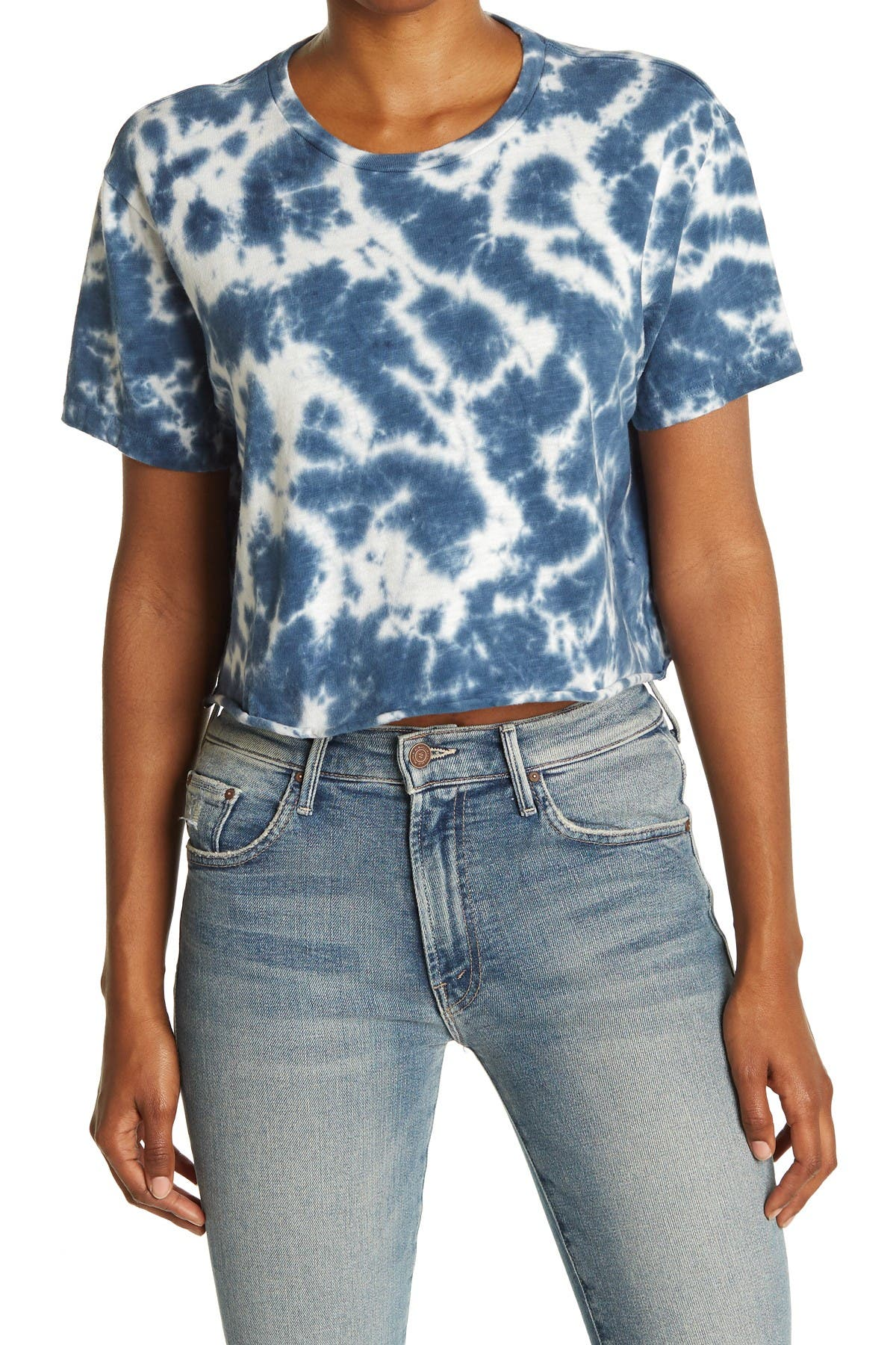 Image of MOTHER The Slouch Tie Dye Crop Top