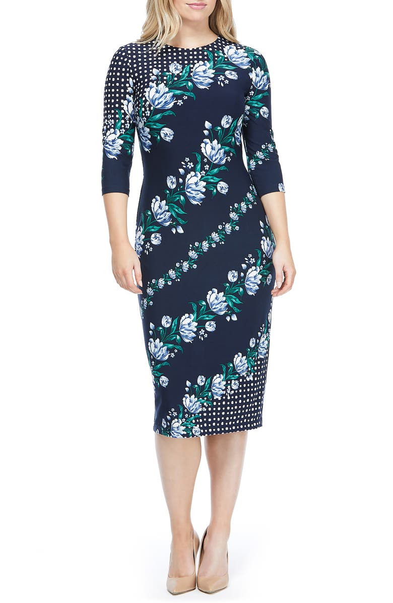 MAGGY LONDON Mixed Print Knit Dress, Main, color, NAVY/ STEEL BLUE