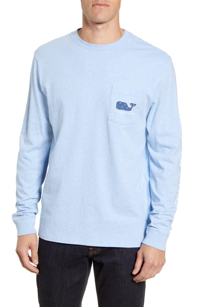 VINEYARD VINES Mini Snowflakes Long Sleeve Pocket T-Shirt, Main, color, JAKE BLUE HEATHER