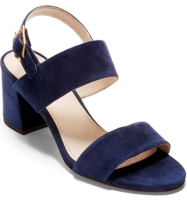 COLE HAAN Avani Block Heel Sandal, Main, color, MARINE BLUE SUEDE