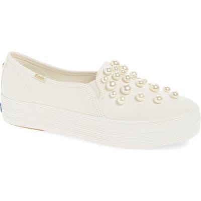 Keds X Kate Spade New York Triple Decker Embellished Slip-On Sneaker, White