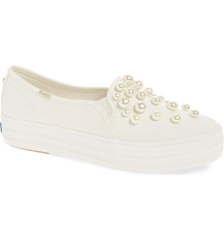 KEDS<SUP>®</SUP> FOR KATE SPADE NEW YORK Keds<sup>®</sup> x kate spade new york triple decker embellished slip-on sneaker, Main, color, CREAM