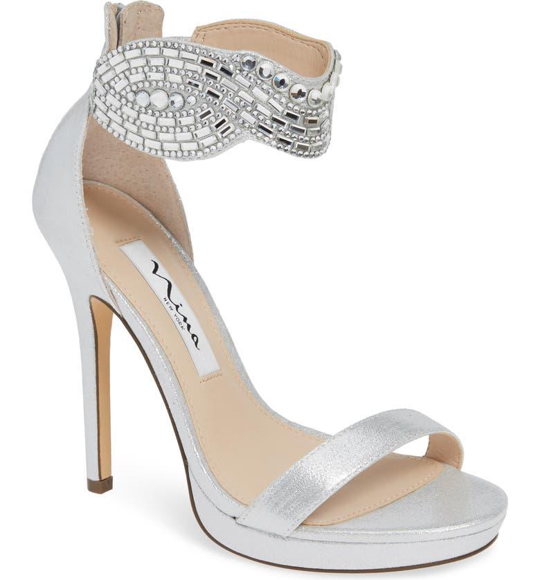 cbf6b0a7d Fayth Jeweled Ankle Cuff Sandal, Main, color, TRUE SILVER