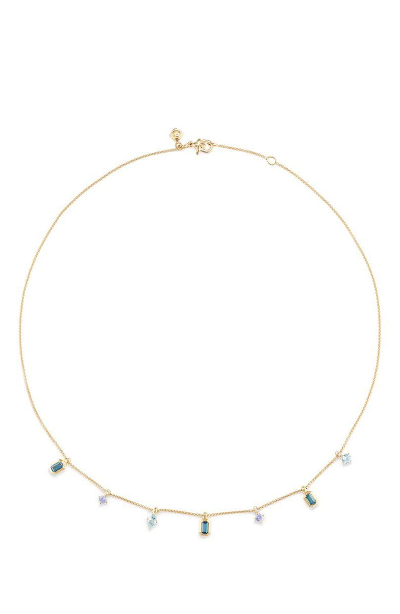 DAVID YURMAN Novella Necklace in 18K Gold, Main, color, GOLD/ DIAMOND/ BLUE TOPAZ
