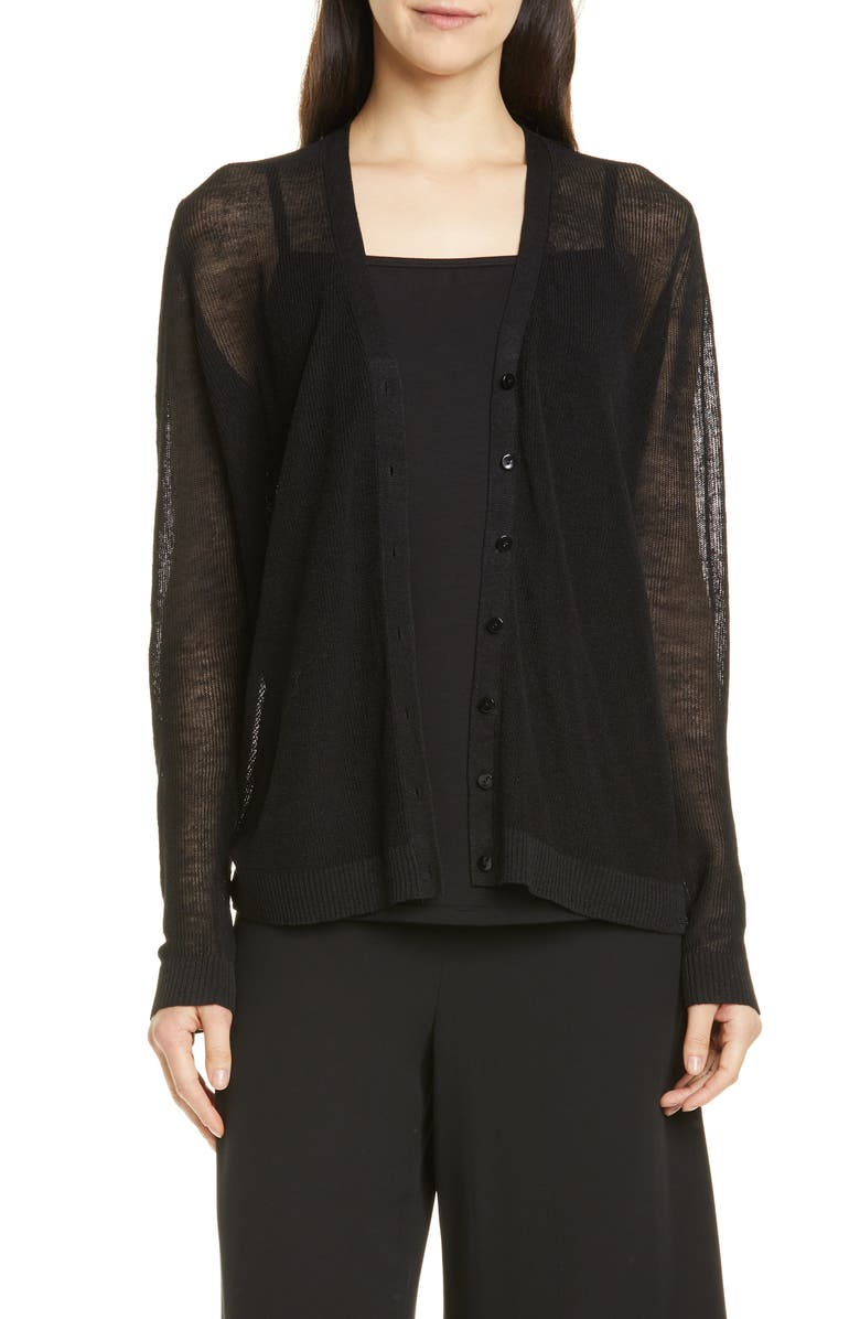 EILEEN FISHER V-Neck Cardigan, Main, color, 001
