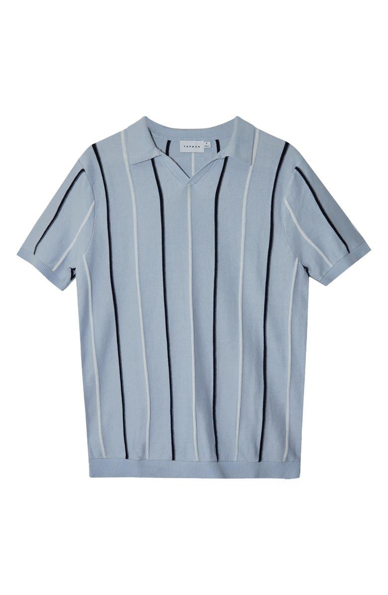 TOPMAN Rib Stripe Johnny Collar Polo, Main, color, BLUE
