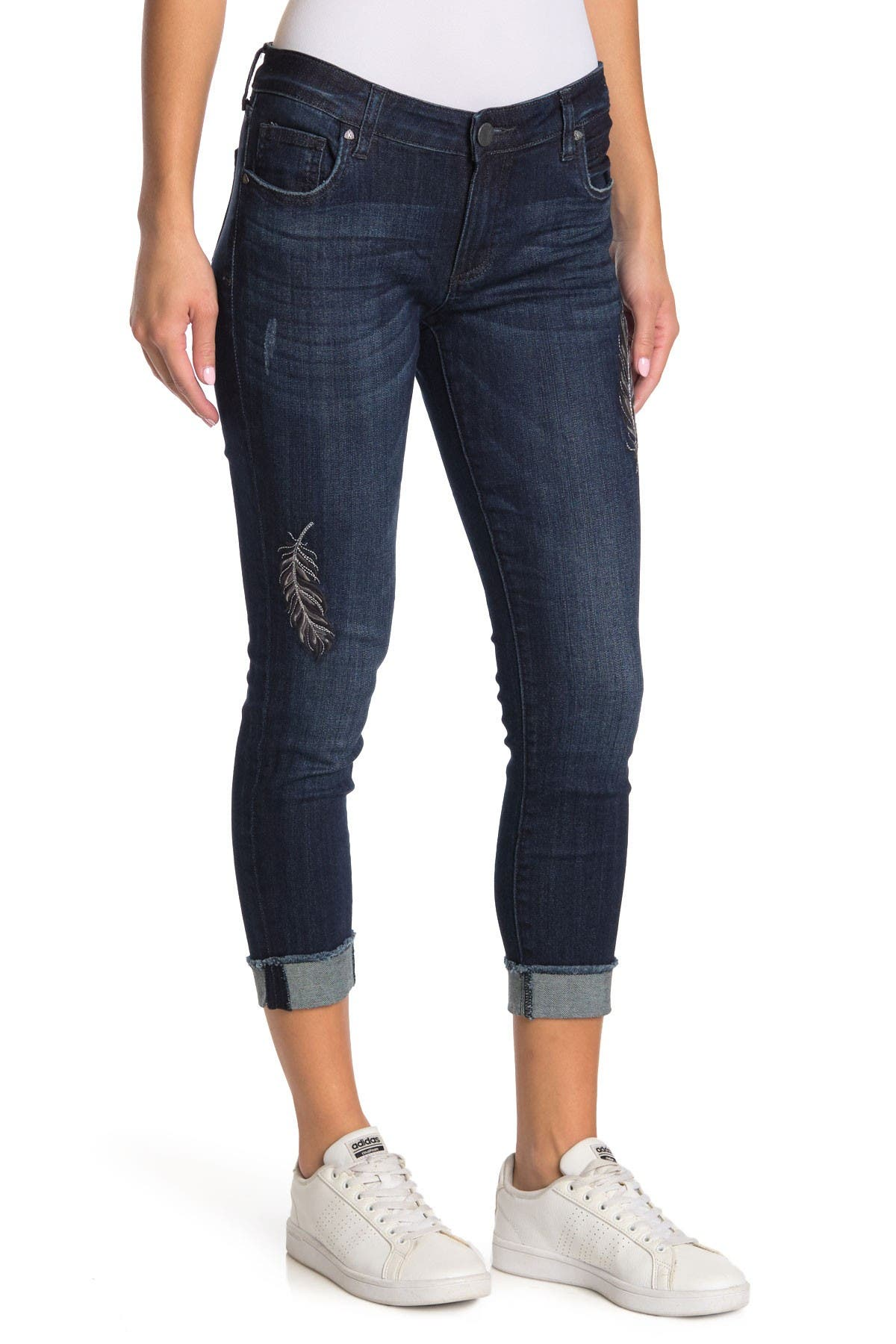 Image of KUT from the Kloth Amy Straight Leg Rolled Cuff Jeans