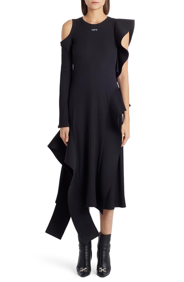 OFF-WHITE Asymmetrical One-Sleeve Midi Dress, Main, color, BLACK WHITE