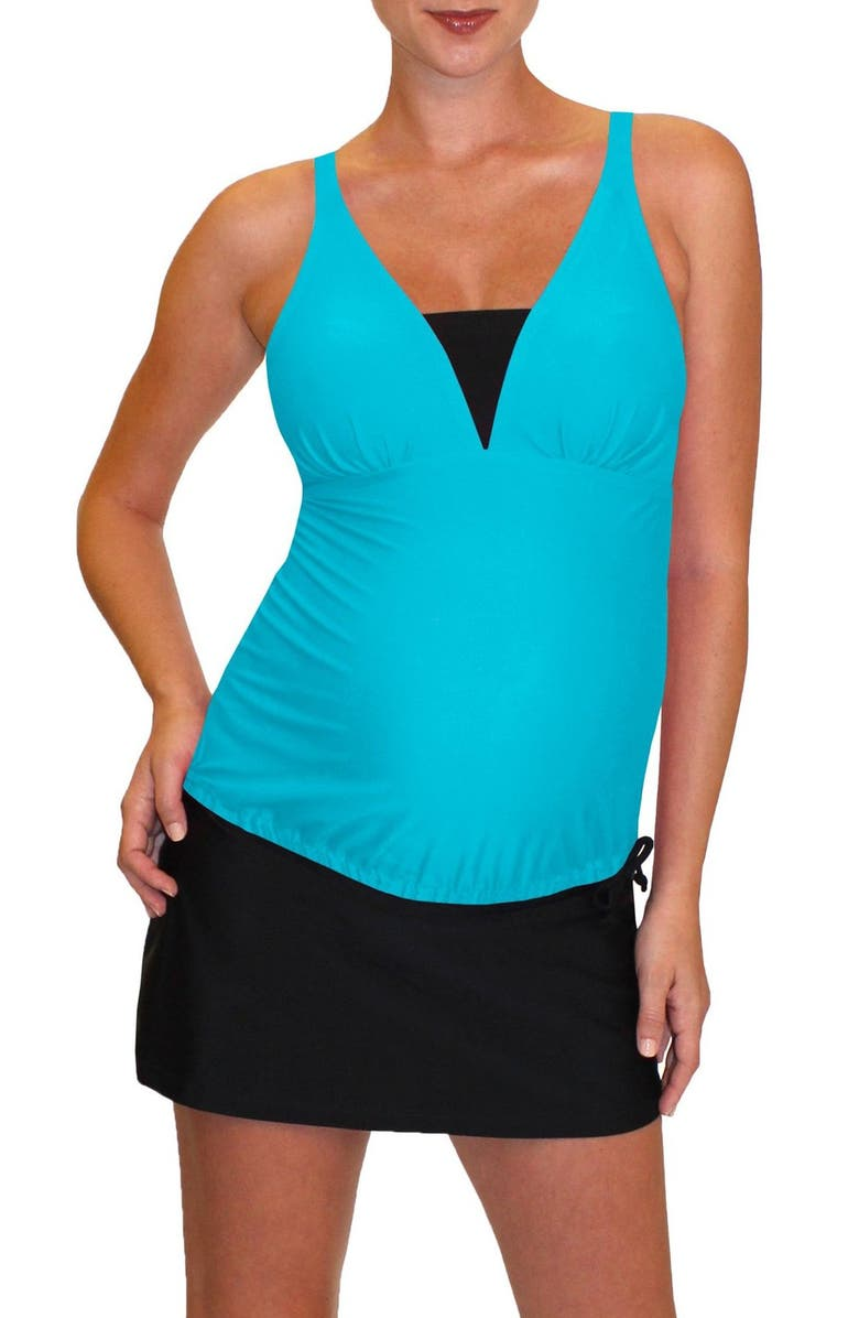MERMAID MATERNITY Tankini Top, Main, color, TROPICAL BLUE