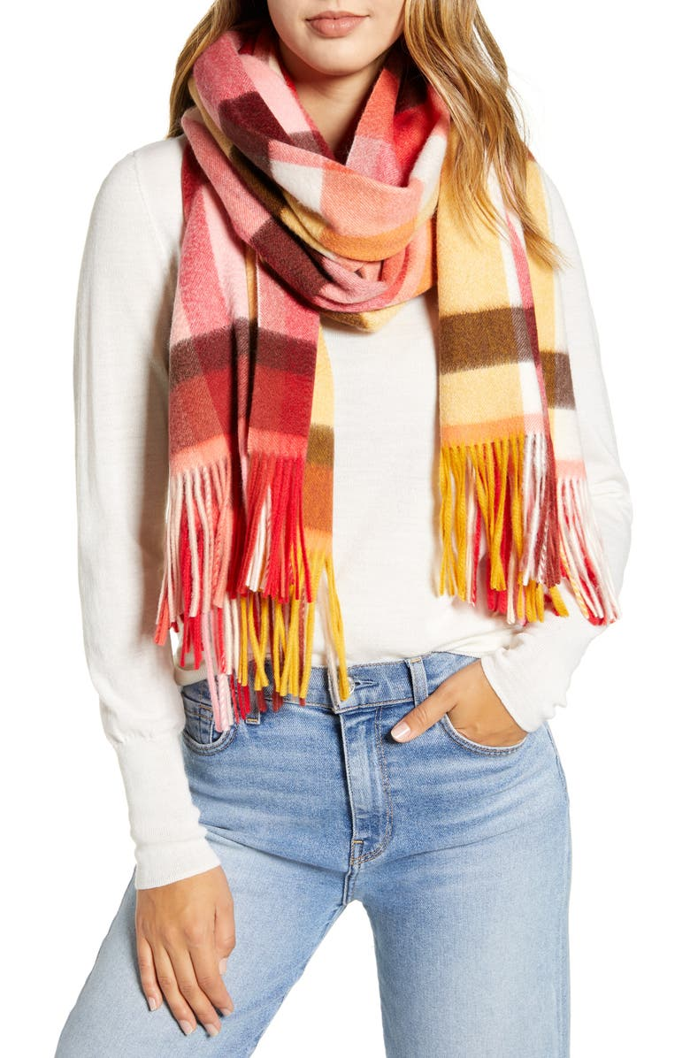 HALOGEN<SUP>®</SUP> Plaid Cashmere Blanket Scarf, Main, color, 930