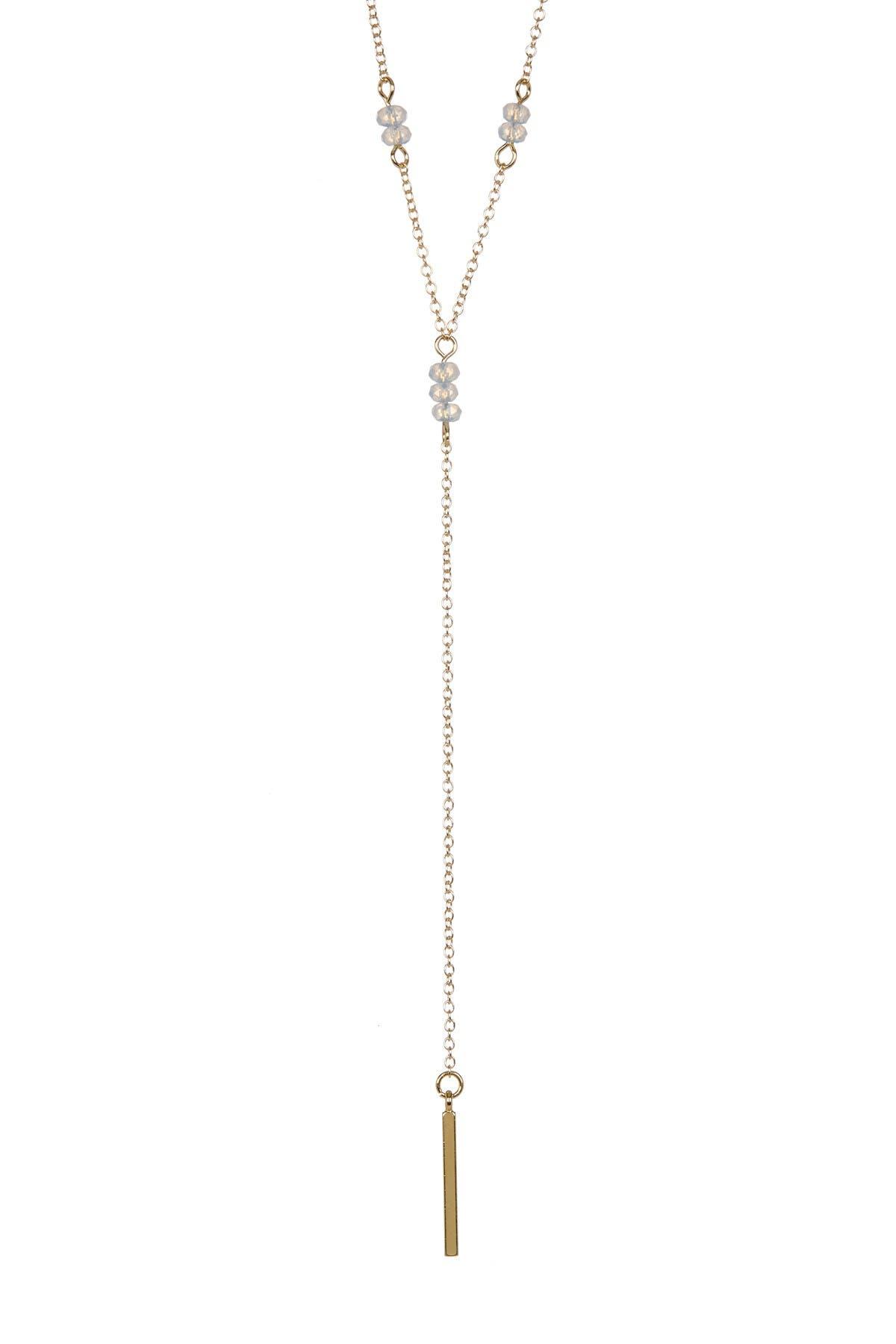 Image of Sterling Forever Moonstone Bar Drop Y Necklace
