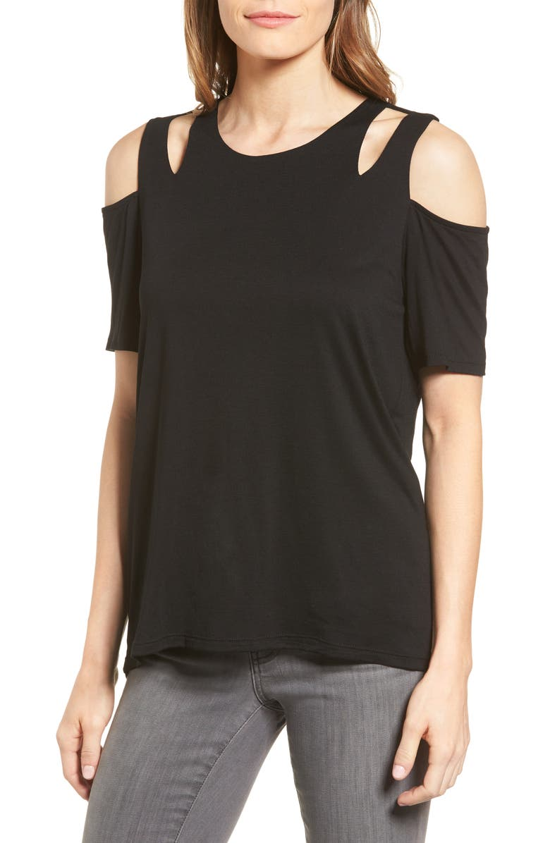GIBSON Cold Shoulder Top, Main, color, 001