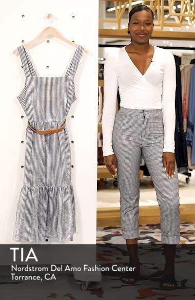 Belted Gingham Seersucker Fit & Flare Dress, sales video thumbnail