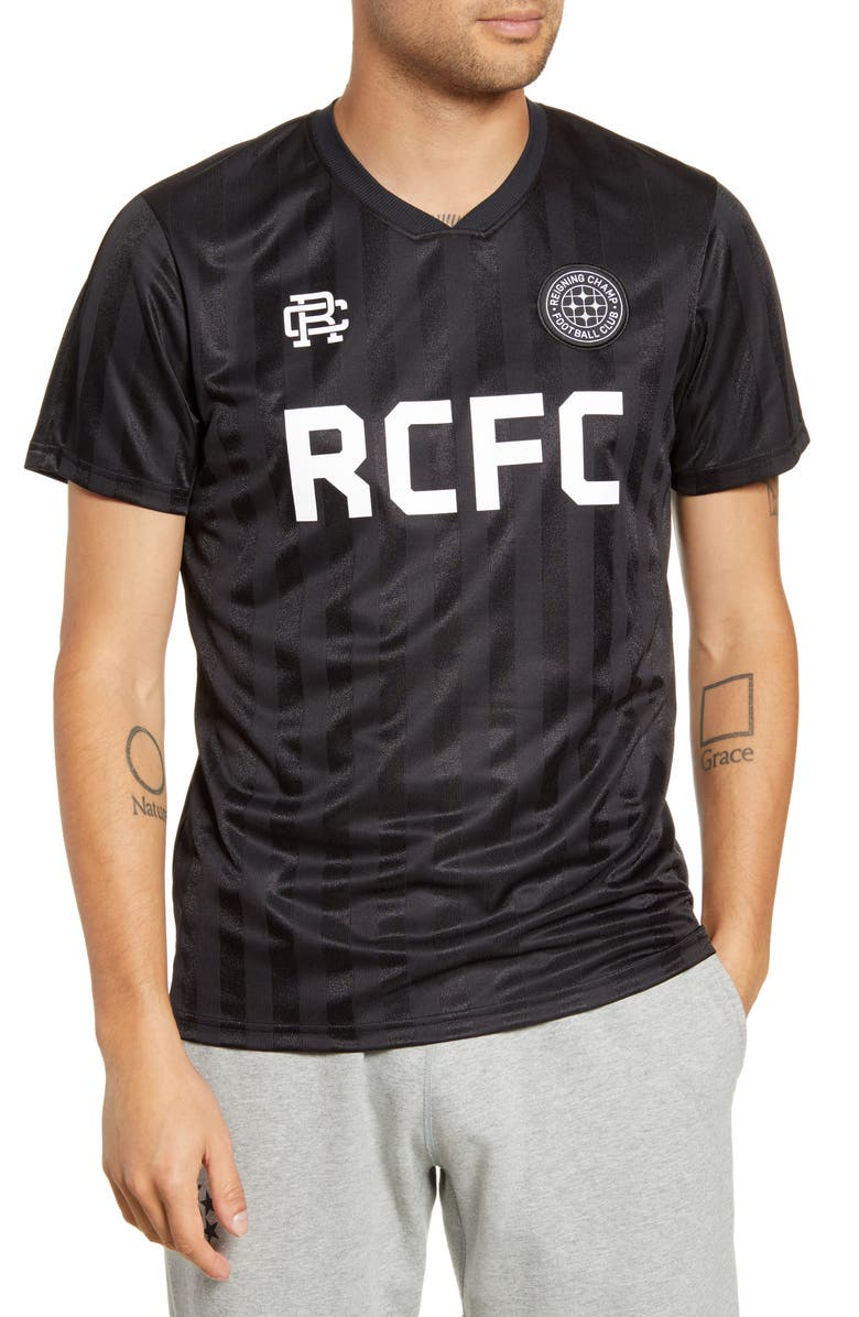 REIGNING CHAMP Football Club Stripe V-Neck Jersey, Main, color, BLACK