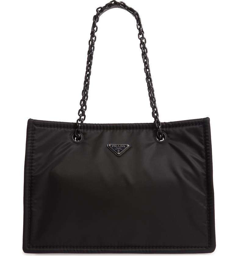 PRADA Logo Nylon Shoulder Bag, Main, color, NERO/ NERO