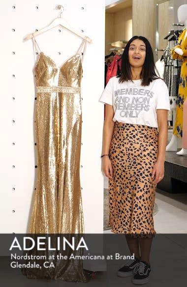 Embellished Bodice Metallic Evening Dress, sales video thumbnail