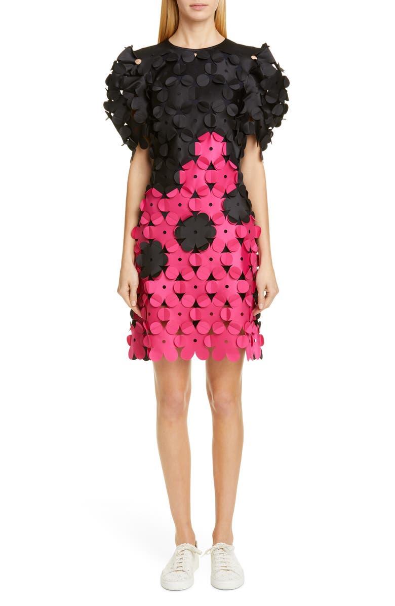 PASKAL Laser Cut Floral Appliqué Dress, Main, color, BLACK/ FUCHSIA PINK