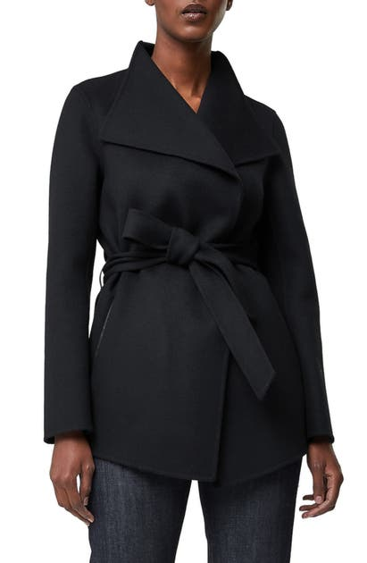 Mackage AZARA WATER RESISTANT WOOL & LEATHER WRAP COAT
